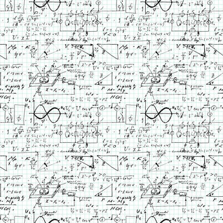 Seamless pattern, mathematical operations and elementary functions, endless arithmetic on copybook grid paper. Real handwritten solutions. Geometry, math, physics, electronic engineering. Lectures.