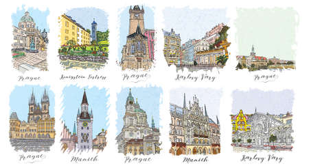 flayers: Set of creative artistic invitations and collectible chocolate packaging. Hand drawn ink vacation and travel invite cards or flayers with calligraphic city writing. Czech Republic. Germany. Illustration