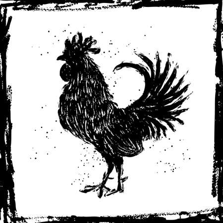 Black rooster in the vintage grunge frame. Happy new year 2017 zodiac. Greeting card. Imitation of hand drawing or painting of rooster silhouette with Chinese calligraphy Ink sticks or India ink.