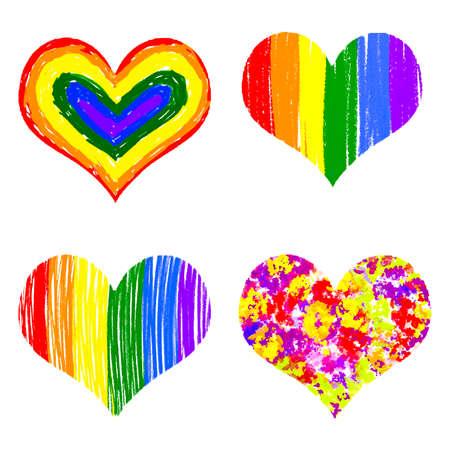 Rainbow heart Vector illustration