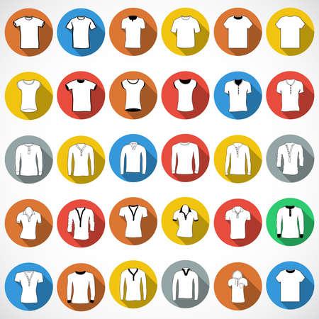 T-Shirt Zeichen Symbol. Kleidungssymbol. Runde bunte Knöpfe. Vektor Standard-Bild - 68302036
