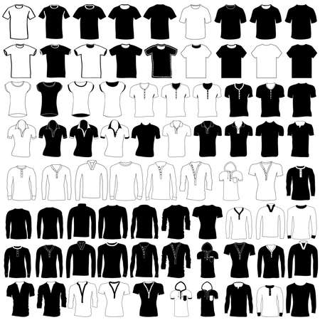 Vector set of men and women wear and fashion, collection of hand drawing t shirt, jersey, wool sweater, polo shirt, dress shirt, hooded sweatshirt, pullover and undershirt.