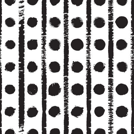 Abstract seamless grunge hand drawing texture with vertical stripes and polka dots in row. Vector illustration.