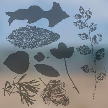 Vector collection of leaf silhouettes, leaves with blurred background, grunge texture