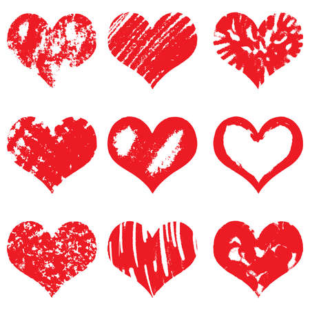 Hand drawn heart shapes, icons in red color for valentines and wedding. Painted collection of grunge vector hearts wedding. Made of chalk and watercolour. Stock Vector - 69939001