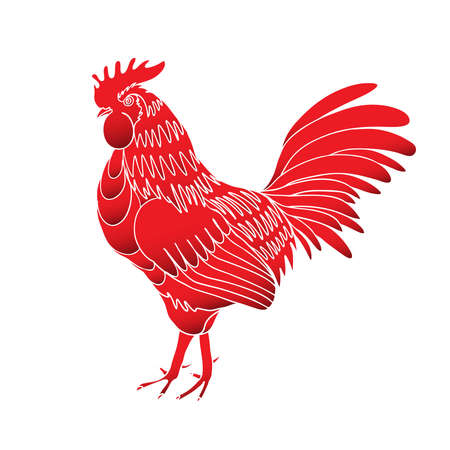 Rooster, symbol of Chinese new year 2017.  Chinese zodiac rooster design element for Chinese New Year decoration. Image of a hand drawing cock or rooster in red gradient.
