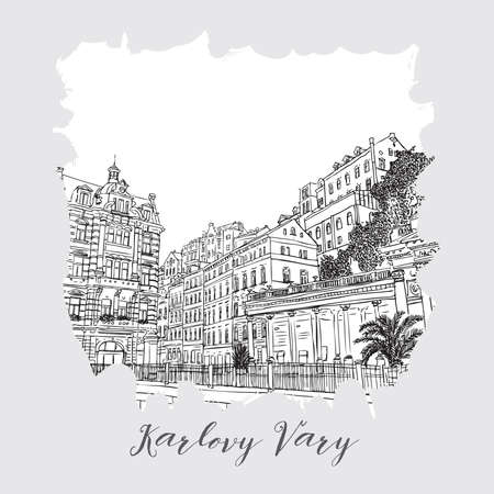 Hand drawn series of vacation travel invitations card or flayers with calligraphic city writing. Karlovy Vary, Czech Republic, ink and painted watercolor imitation. With grunge frames.