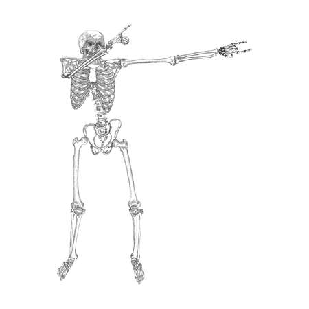 dabs: Human skeleton making DAB, perform dabbing dance move gesture, posing on white background. Vector. Illustration