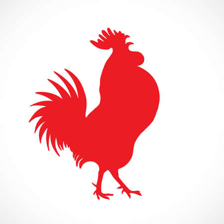 chiken: Rooster, cock, red Chinese zodiac vector illustration. Logo, emblem, symbol design. Red hand drawing silhouette isolated on white. Happy new year Chinese Year of the Rooster zodiac emblem 2017.