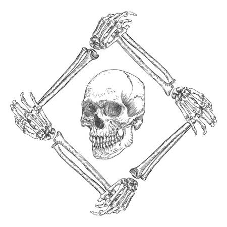 Skull in the frame made of hands bones. Occult witch craft magic portrait of the dead human head. Handmade detailed drawing. T-shirt print vector illustration.