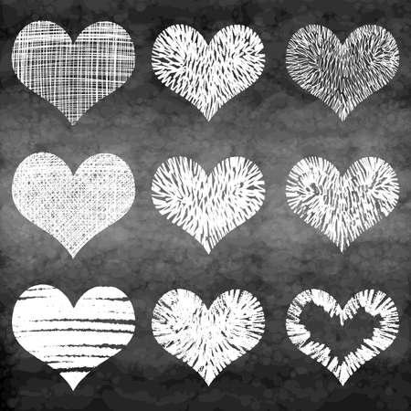 Set of grunge vector hearts. Design elements. Chalk board, Retro, vintage background. Valentine mood. Hand drawn. Grunge heart. Abstract shapes.