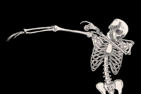 dabs: Skeleton of human dancing DAB on black background, isolated, perform dabbing move gesture, posing vector.
