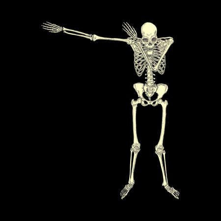 Human skeleton posing DAB, perform dabbing dance move gesture, posing on black background. Vector.