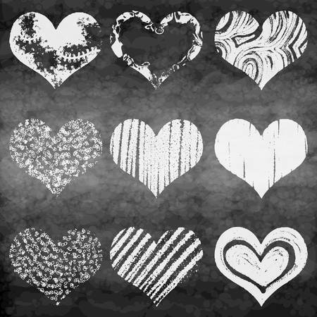 grunge heart: Set of grunge vector hearts. Design elements. Chalk board, Retro, vintage background. Valentine mood. Hand drawn. Grunge heart. Abstract shapes.