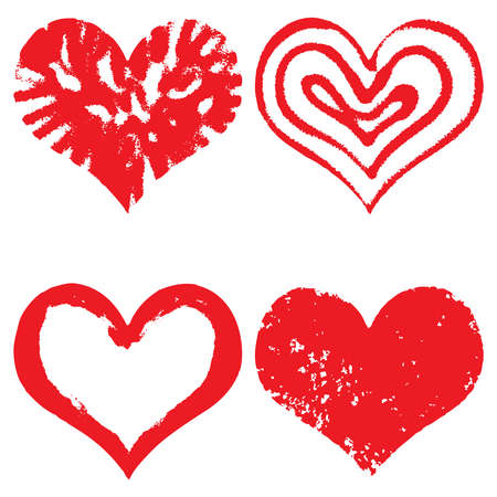Heart icons, hand drawn icons for valentines and wedding in red color for valentines. Collection of grunge vector hearts for wedding. Made of chalk and watercolour.