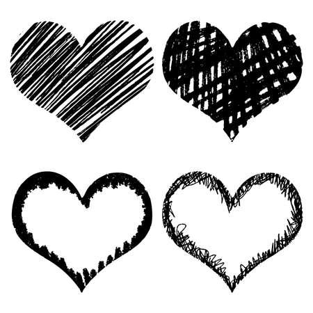 doodled: Hand-drawn sketch hearts for Valentines Day design. Vector illustration.