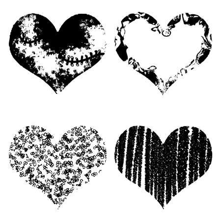 Drawn black hearts silhouette on white background. Symbol of love in grunge style Ilustração
