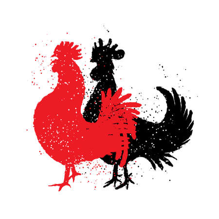 Chinese zodiac, rooster. Chinese New Year. Couple of rooster are looking to the left. Vector. Imitation of hand drawing or painting of the silhouettes with Chinese calligraphy Inksticks or India ink.