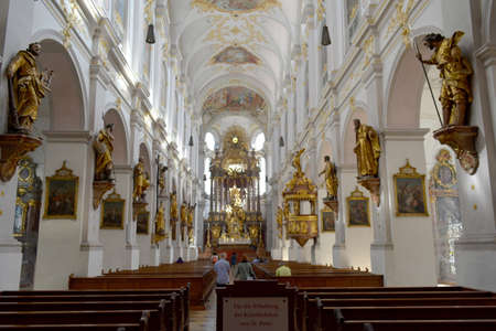 Munich, Bavaria, Germany - October 6, 2015:  St. Peters Church, interior. Unfiltered. Famous tourist and traveler routs.