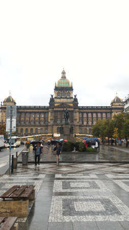 Prague, Czech Republic - October 8, 2015 : Wenceslas square and National Museum with people. Mobile photo. Famous tourist and traveler routs.