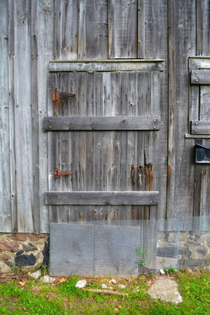 Barn door with rust. Unfiltered doors, with natural lighting. An old gray rustic barn surface.