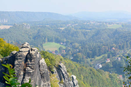 Elbe Sandstone Mountains, highlands, Saxon Switzerland National Park. Famous tourist and travel routes. Natural lighting. Stock Photo