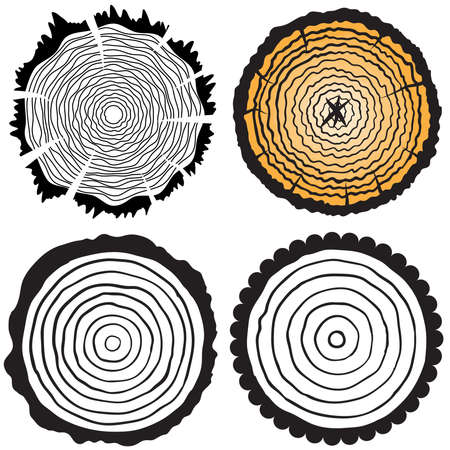 Set of four tree rings icons. concept of saw cut tree trunk, forestry and sawmill. Isolated on white background. Logo design trendy modern vector illustration.