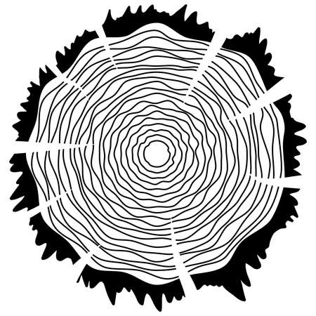 rings on a tree cut: Tree growth rings logo icon, vector tree rings background and saw cut tree trunk. Logo template. Corporate icon. Brand visualization. Eco, bio, organic, natural concept. Illustration