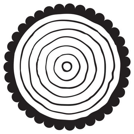 rings on a tree cut: vector black and white wooden cut of a tree log with concentric rings and bark