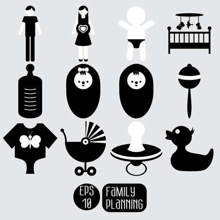 planificacion familiar: Iconos del bebé. Planificación familiar. Vectores