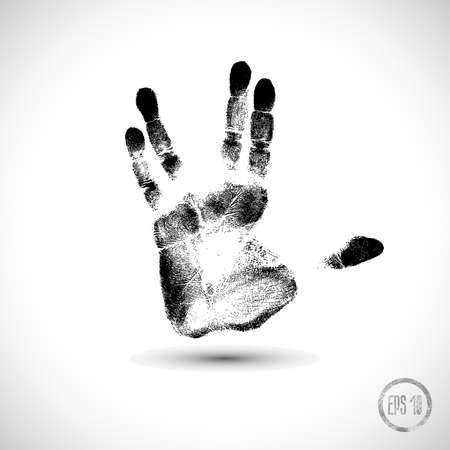 black hand print on a white
