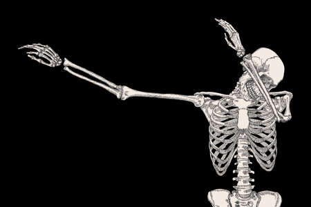 perform: Skeleton of human dancing DAB on black background, isolated, perform dabbing move gesture, posing vector.