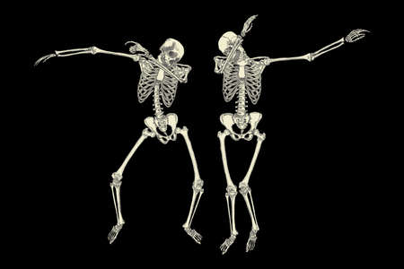move in: Human skeletons dancing DAB like friends, perform dabbing move gesture in group, posing isolated on black background, vector. Illustration