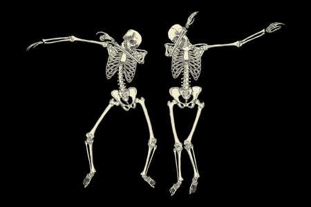 scheletri umani danzanti DAB come amici, eseguire tamponando gesto si muovono in gruppo, che presentano isolati su sfondo nero, il vettore.