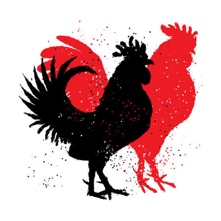 Chinese zodiac, rooster. Chinese New Year. Couple of rooster are looking to the right. Vector. Imitation of hand drawing or painting of the silhouettes with Chinese calligraphy Inksticks or India ink. Illustration