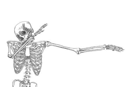 Human skeleton dancing DAB, perform dabbing move gesture, posing on white background. Vector. Illustration