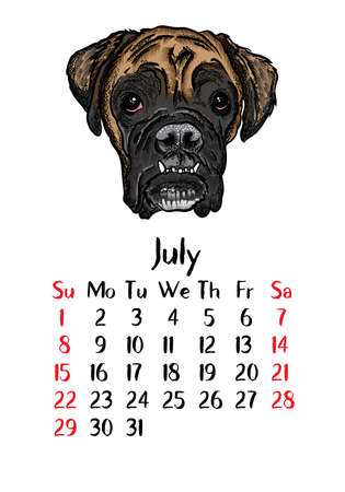Funny happy dog, calendar 2018 design. Chinese new year, the year of the dog zodiac monthly cards templates. Cute doggy vector. Vectores