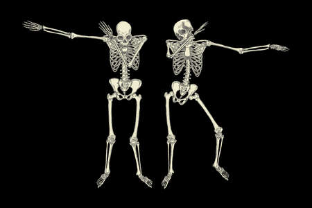Human skeletons dancing DAB like friends, perform dabbing move gesture in group, posing isolated on black background, vector. 일러스트