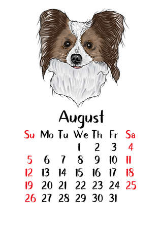 Funny happy dog, calendar 2018 design. Chinese new year, the year of the dog zodiac monthly cards templates. Cute doggy vector. 向量圖像