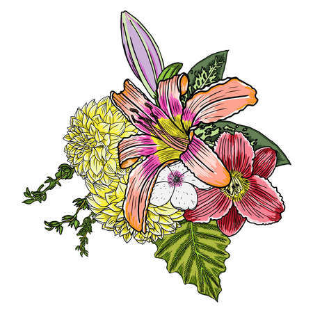 Vintage garden drawing spring bouquet with various flowers and leaves blooming, isolated botanical vector illustration.