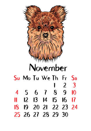 chinese new year card: Funny happy dog, calendar 2018 design. Chinese new year, the year of the dog zodiac monthly cards templates. Cute doggy vector. Illustration