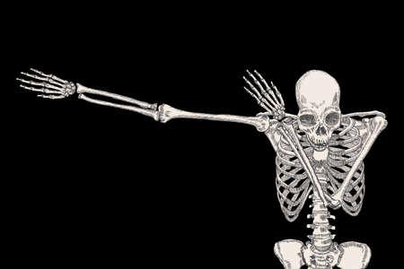 Squelette de l'homme danse DAB sur fond noir, isolé, effectuer le geste de mouvement dabbing, posant vecteur.
