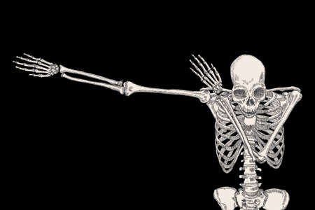 Skeleton of human dancing DAB on black background, isolated, perform dabbing move gesture, posing vector.