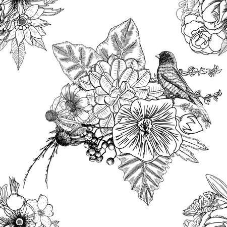 Vogel, rozen, Aster en kamille, met exotische bladeren hand tekening naadloos patroon als achtergrond. Endless vector.