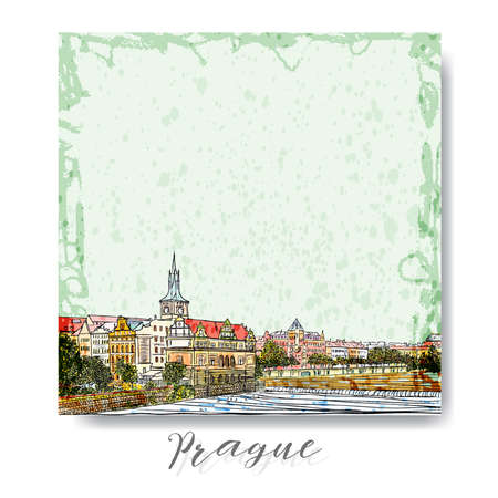 Hand drawn series of vacation travel invitations card or flayers with calligraphic city writing. Prague, Czech Republic, ink and painted watercolor imitation. With grunge frames, ant paint splash.