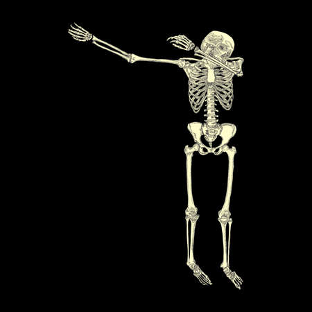 Human skeleton posing DAB, perform dabbing dance move gesture, posing on black background. Vector.