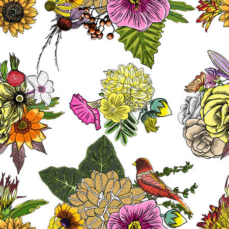 Various flowers : Roses, dahlia, hibiscus with leaves and sunflowers stylized seamless pattern background. Hand drawn vector.