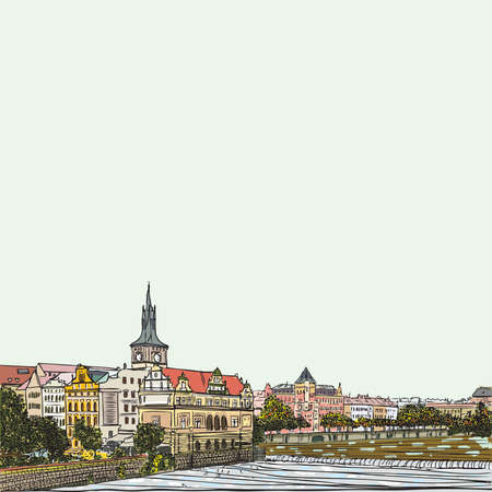 Prague, Czech Republic, hand drawn ink and painted watercolor imitation. European architecture sketch. Postcard design. Famous, tourists and travel, popular routes. Tourism and vacation concept.
