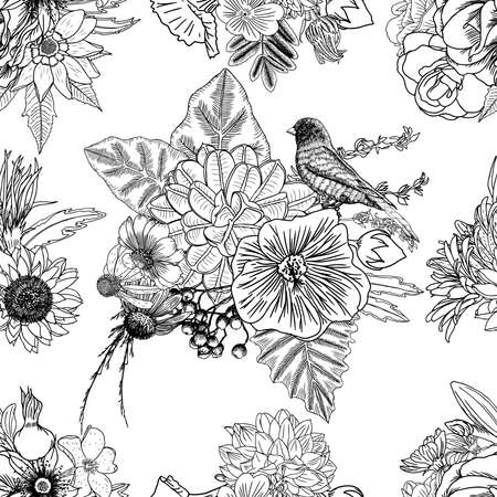 Bird, roses, Aster and chamomile,  with exotic leaves hand drawing seamless background pattern. Endless vector.