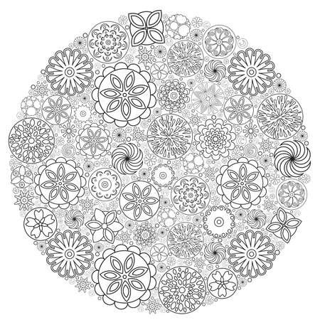 Diseño De Flores Para El Libro Para Colorear Para Adultos. Un Dibujo ...
